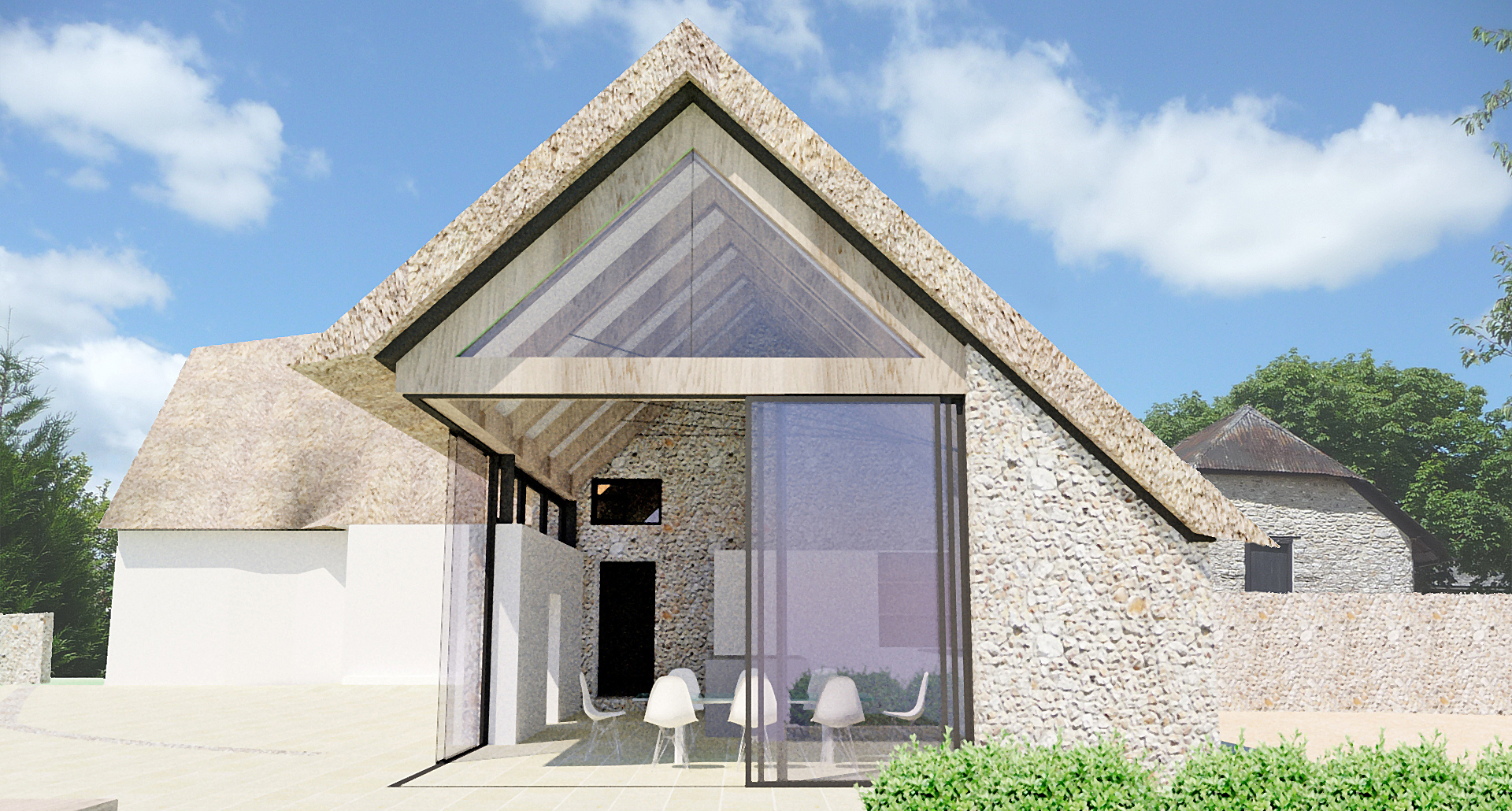 A contemporay thatched roof extension to a listed farmhouse in Devon van Ellen Sheryn