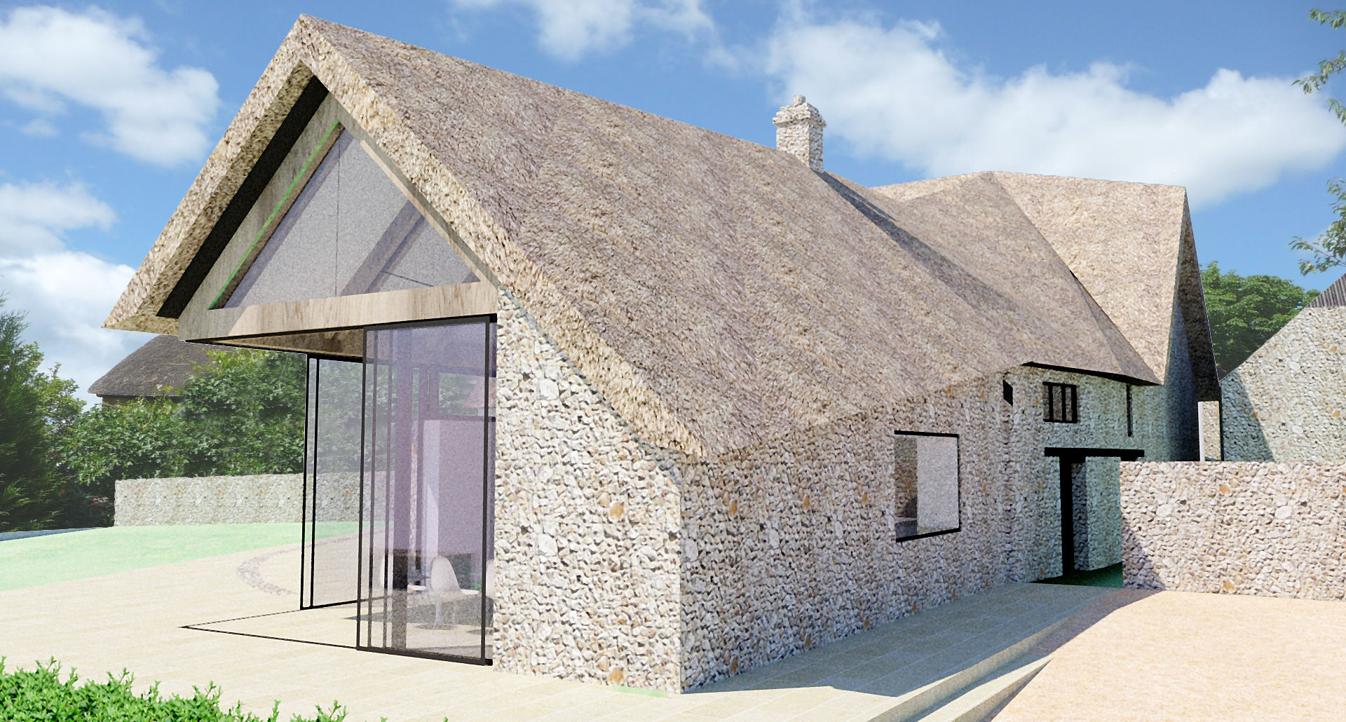 A contemporay thatched roof extension to a listed for Contemporary roof